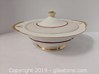 Pacific China Hand Painted Bowl W/Lid Gold Trim