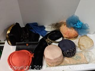 A Collection Of Vintage Hats Gloves & Purses + Belts