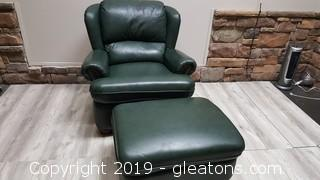 """Lane"" Leather Side Chair With Ottoman"