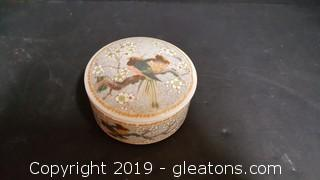 Small Round Canister Made In Japan China With Birds