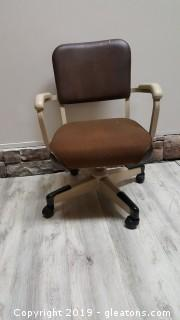 Vintage Rolling Desk Chair With Covered Seating