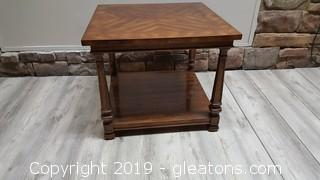 Large Square Solid Wood End Table With Bottom Open Shelf