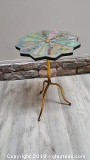 Decorative Mirrored Side Table With Style Gilt Metal Legs