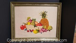 Vintage Wall Framed Crewel Embroidery Art