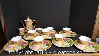 Set Of Lefton China/8 Piece Tea Set With Pitcher W/Creamer Pink Roses