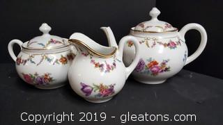 Made In Germany Tea Set Schumann Bavaria Porcelain Engress Flower