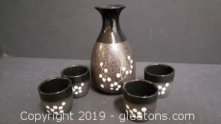Vintage Japanese Handmade Pottery Sake Tea Set