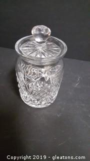 "Tipperary Irish Crystal Candy Canister With Lid Signed 5""H Small"