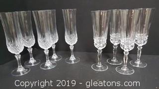 (2) Sets Of Crystal Wine Glasses (6) Pieces(4) Pieces