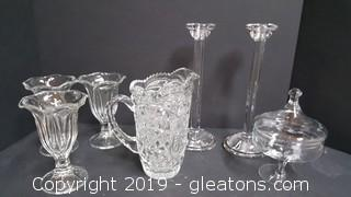 Lot Of Clear Glass Items Candy Dish/Candle Holders Pitcher/ With (3) Dessert Glasses