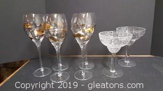 Lot Of 5 Very Nice Ornate Gold Decor Wine Glasses