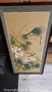 VTG 30s Asian Japanese Watercolor Art Prints Signed Wall Hanger W/Brass Corner