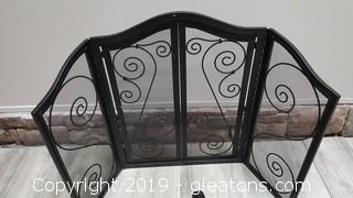 Black Wrought Iron Fire Place Screen