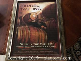 Framed 29th Annual Barrel Tasting Poster