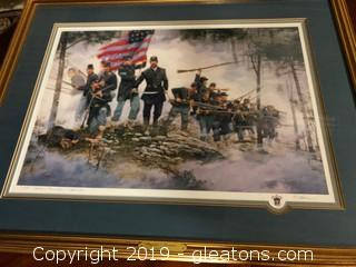 "Large Gold Framed #711335 Dale Gallon ""Bayonet! Forward"