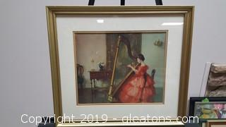 Nicely Framed World Famous Pearson Print Marguerite