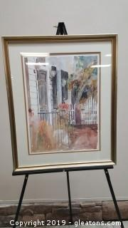 Signed Watercolor Print Nicely Well Framed By Artist. Margaret Peterson