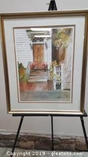 "Signed Framed Wide Print By: Margaret Peterson ""Watercolor"""