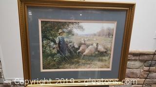 Nicely Framed Print With Landscape/Sheep