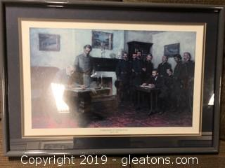 "Framed ""surrender At Appomahox April 9, 1865"" Print"