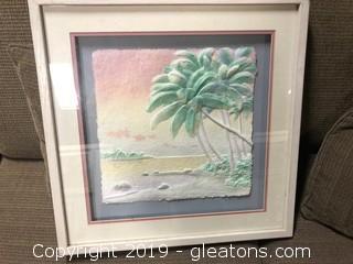 Wooden Frame 3D Beach Print