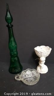 Vintage Glass Green Vase With Stopper, Cut Glass Dish, And Vintage Cherub Planter