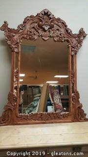 Large  Hand Carved Vintage Wooden Mirror