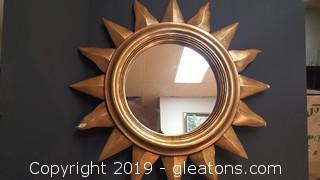 """Large Wooden """"Sun"""" Mirror"""