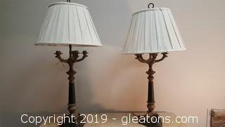 Pair Of Fine Vintage Candelabra Lamps W/Updated New Lamp Shades