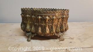 Vintage Brass Lace Fringe Planter