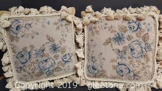"""Pair Of """"Needle Point"""" Small Pillows Velvet Backs"""