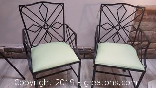 1950's Handmade Iron Heavy Covered Seated Chairs