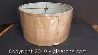 New In Plastic Round  Brown Burlap Lamp Shade