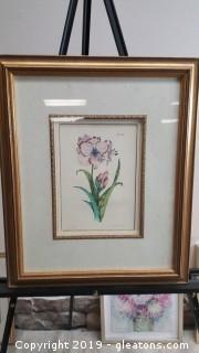 Nicely Frame Fine Art Work Signed No. 253 Floral Print