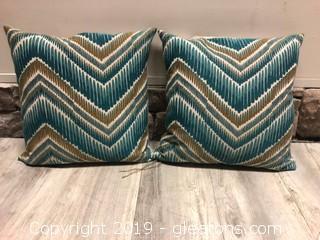 Pair Modern Teal Down Pillows