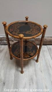 Decorative 2 Tier Bamboo Painted Top Side Table