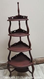Vintage 5 Tier Open Corner Wooden Carved Shelf