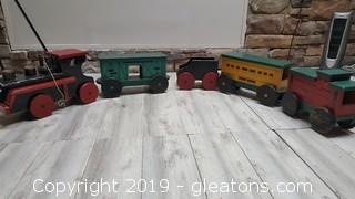 Large  Box Car Wooden Hand Painted Vintage Train Set