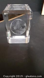 "Clear Heavy Glass Laser Etched ""Earth"" Paperweight Cut Glass"