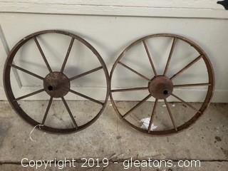 "Pair of 16"" Antique Wagon Wheels"