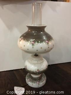 Hand Painted Milk Glass Converted Oil Lamp