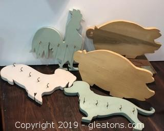 Hand Cut Painted Key Hooks and Cutting Boards