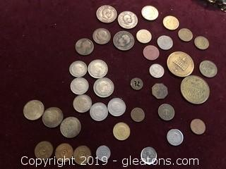 Lot of Antique and Vintage Coins and Tokens