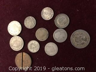 Lot of Silver Coins and Tokens