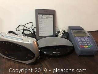 Lot of Electronics, Credit Card Machine, Radio, Kindle, Speaker