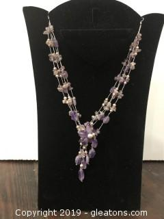 Silver and Amethyst Beaded Necklace