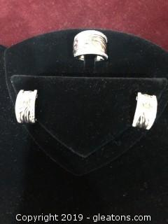 Silver Tiger Stripe Pierced Earrings and Ring
