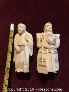 Pair of Miniature Carved Chinese Statues Figurines