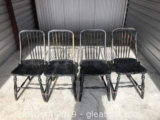 Antique Black Spindle Chairs Set of 4. Very Unique