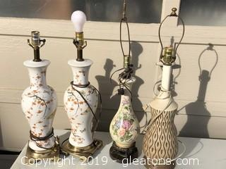 Lot of Porcelain and Ceramic Lamps